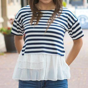Navy Blue and White Striped Short Sleeve Tee